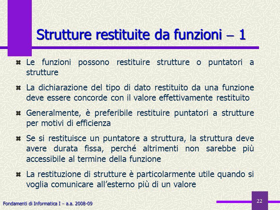 Strutture restituite da funzioni  1
