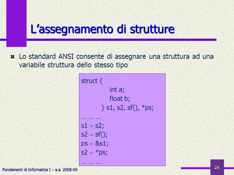 L'assegnamento di strutture