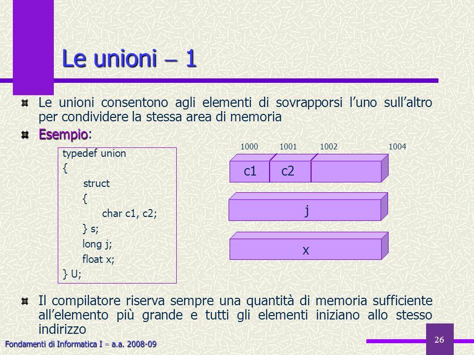 Le unioni  1 Le unioni consentono agli elementi di sovrapporsi l'uno sull'altro per condividere la stessa area di memoria.