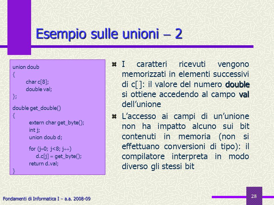 Esempio sulle unioni  2