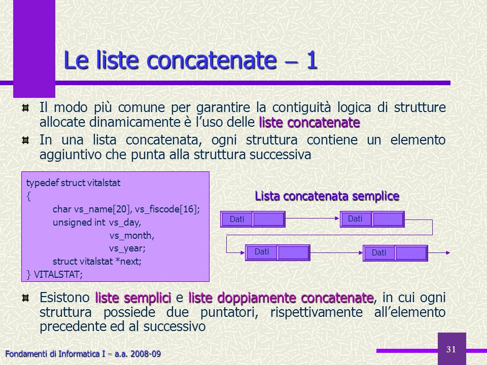 Le liste concatenate  1 Il modo più comune per garantire la contiguità logica di strutture allocate dinamicamente è l'uso delle liste concatenate.