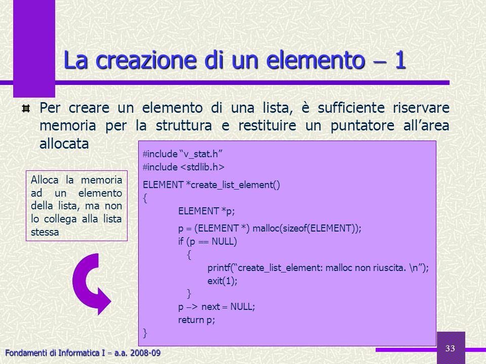 La creazione di un elemento  1