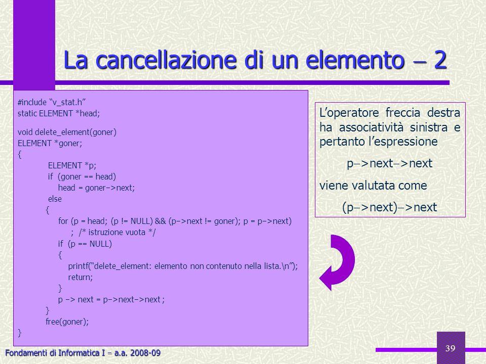 La cancellazione di un elemento  2