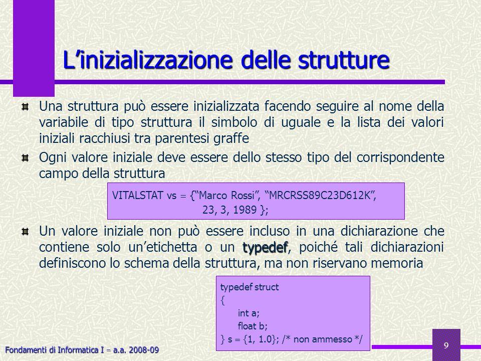 L'inizializzazione delle strutture