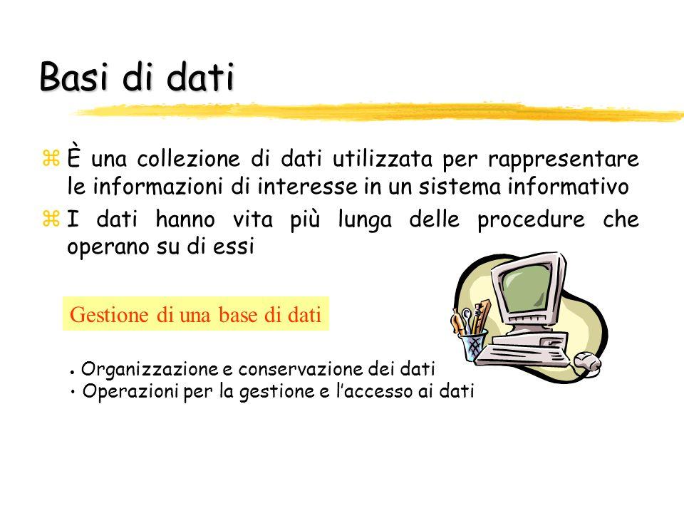 Basi di dati È una collezione di dati utilizzata per rappresentare le informazioni di interesse in un sistema informativo.