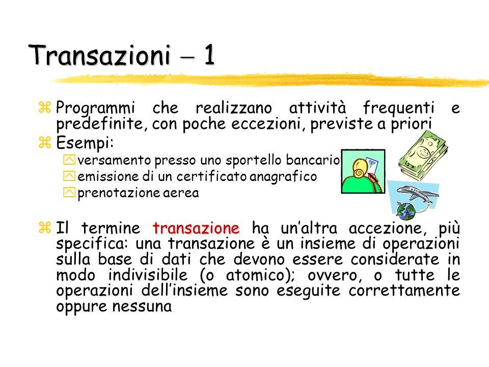 Transazioni  1Programmi che realizzano attività frequenti e predefinite, con poche eccezioni, previste a priori.