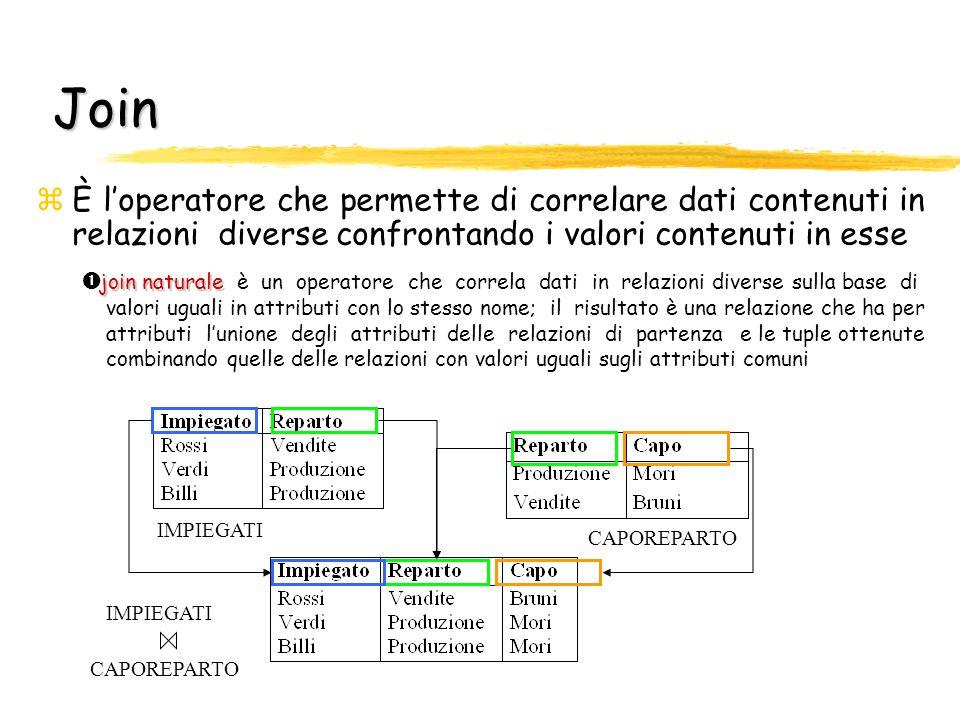 JoinÈ l'operatore che permette di correlare dati contenuti in relazioni diverse confrontando i valori contenuti in esse.