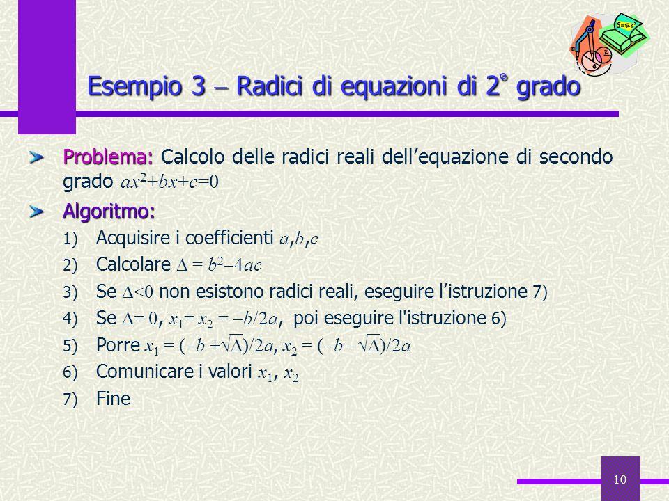Esempio 3  Radici di equazioni di 2° grado