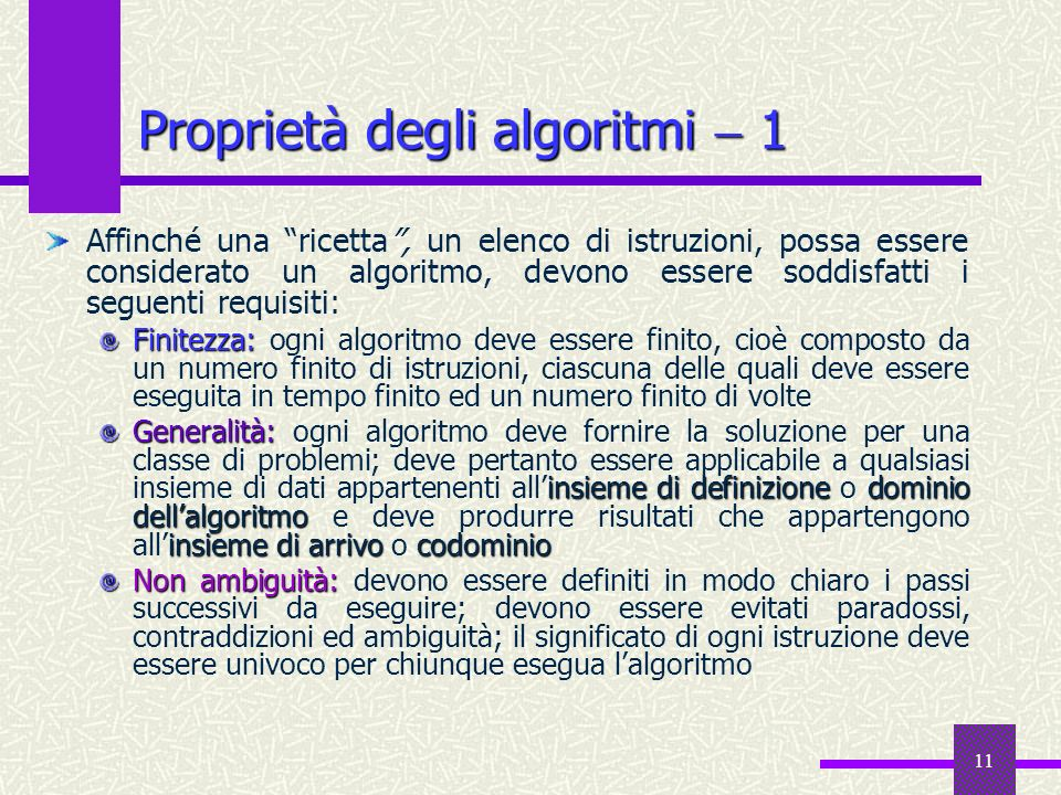 Proprietà degli algoritmi  1