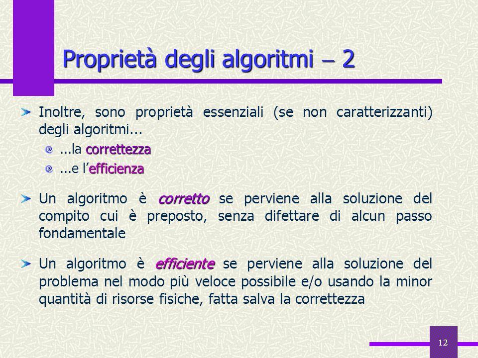 Proprietà degli algoritmi  2