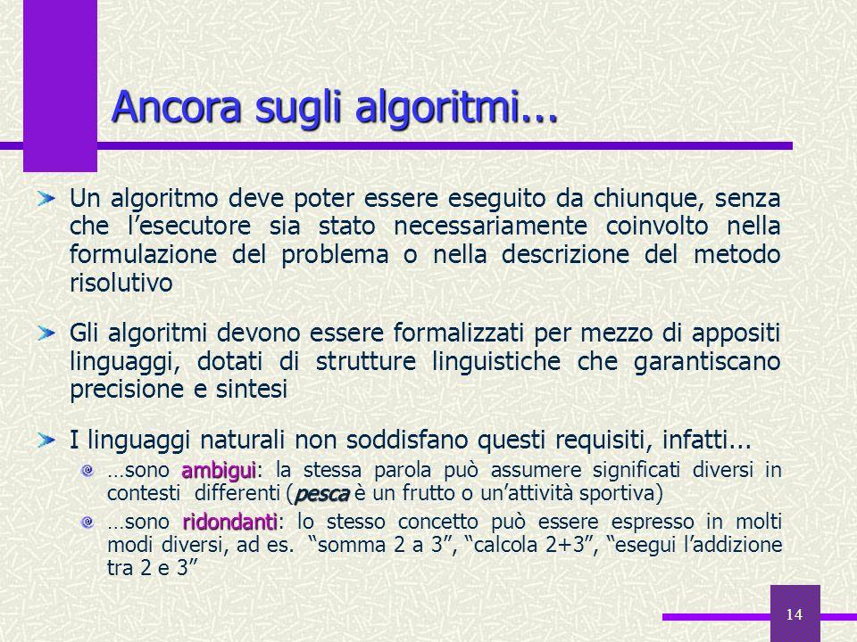 Ancora sugli algoritmi...