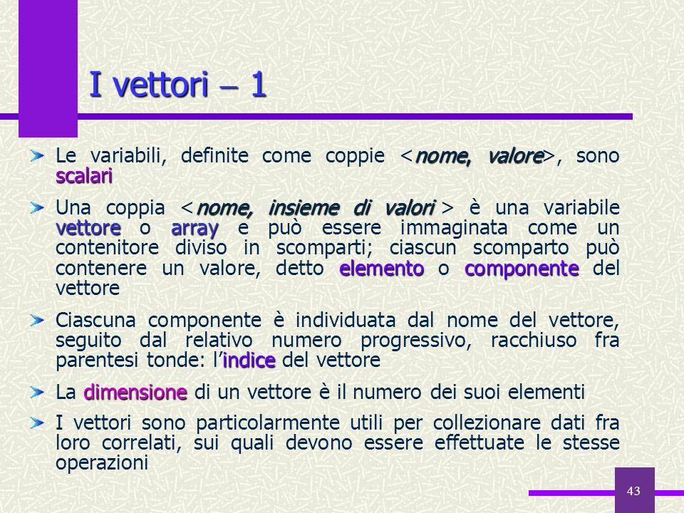 I vettori  1 Le variabili, definite come coppie <nome, valore>, sono scalari.
