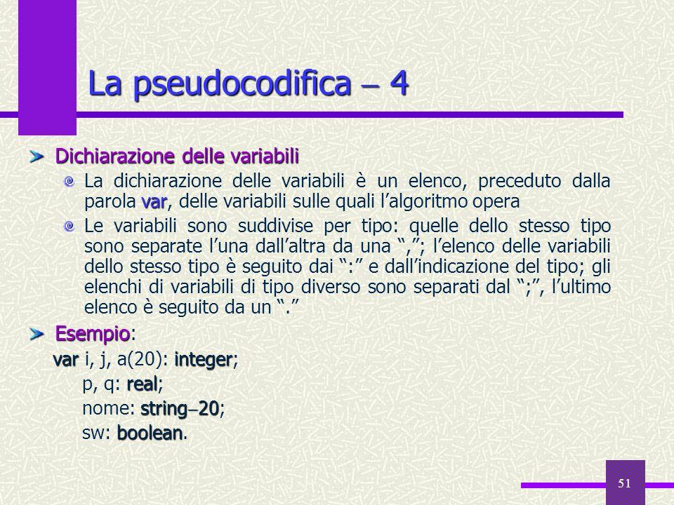 La pseudocodifica  4 Dichiarazione delle variabili Esempio: