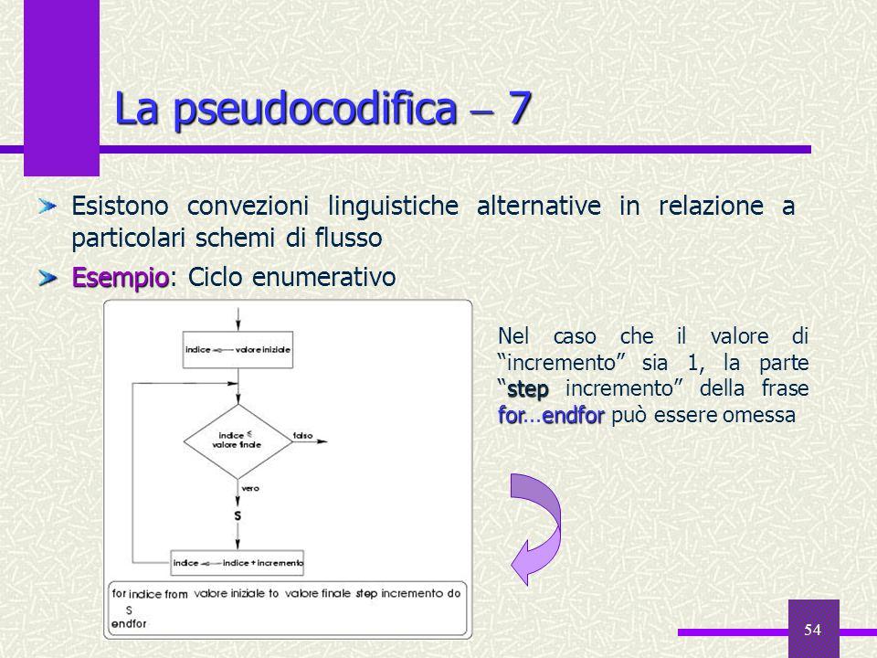 La pseudocodifica  7Esistono convezioni linguistiche alternative in relazione a particolari schemi di flusso.