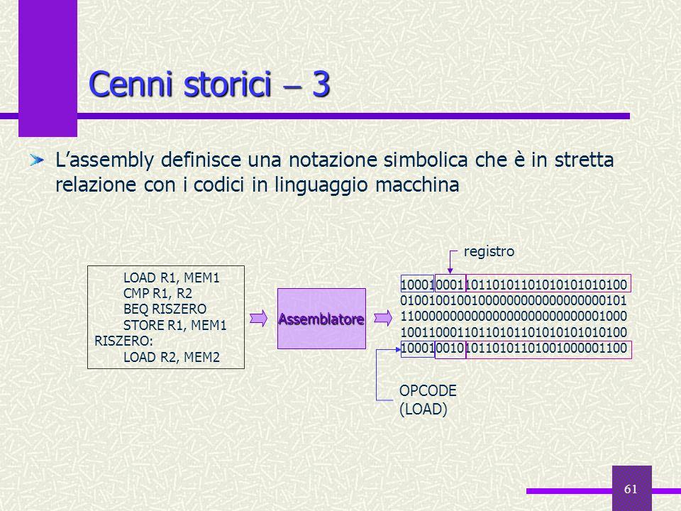 Cenni storici  3L'assembly definisce una notazione simbolica che è in stretta relazione con i codici in linguaggio macchina.