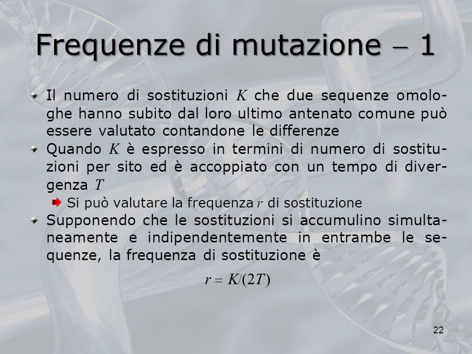 Frequenze di mutazione  1