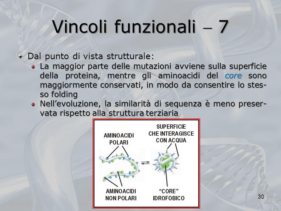 Vincoli funzionali  7 Dal punto di vista strutturale: