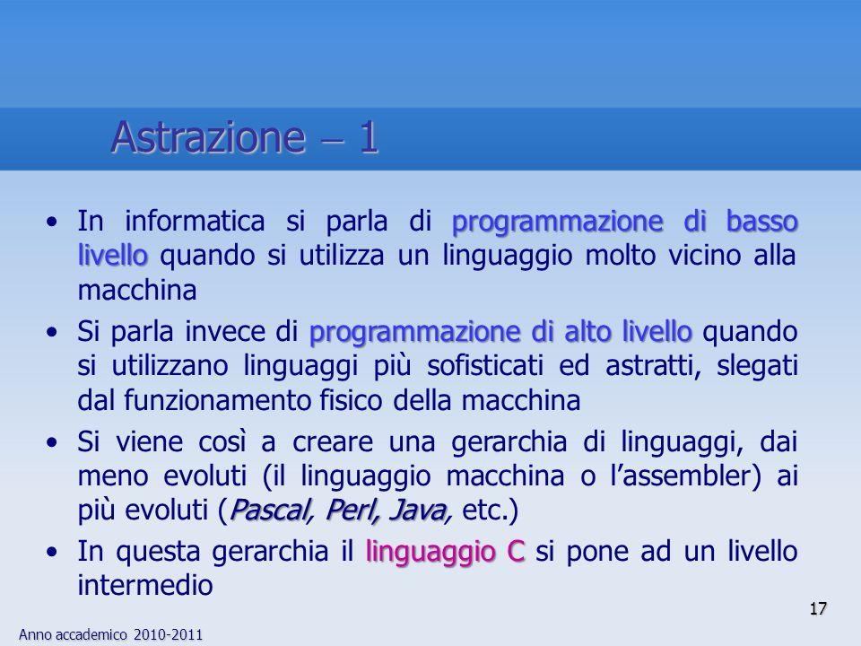 Astrazione  1 In informatica si parla di programmazione di basso livello quando si utilizza un linguaggio molto vicino alla macchina.