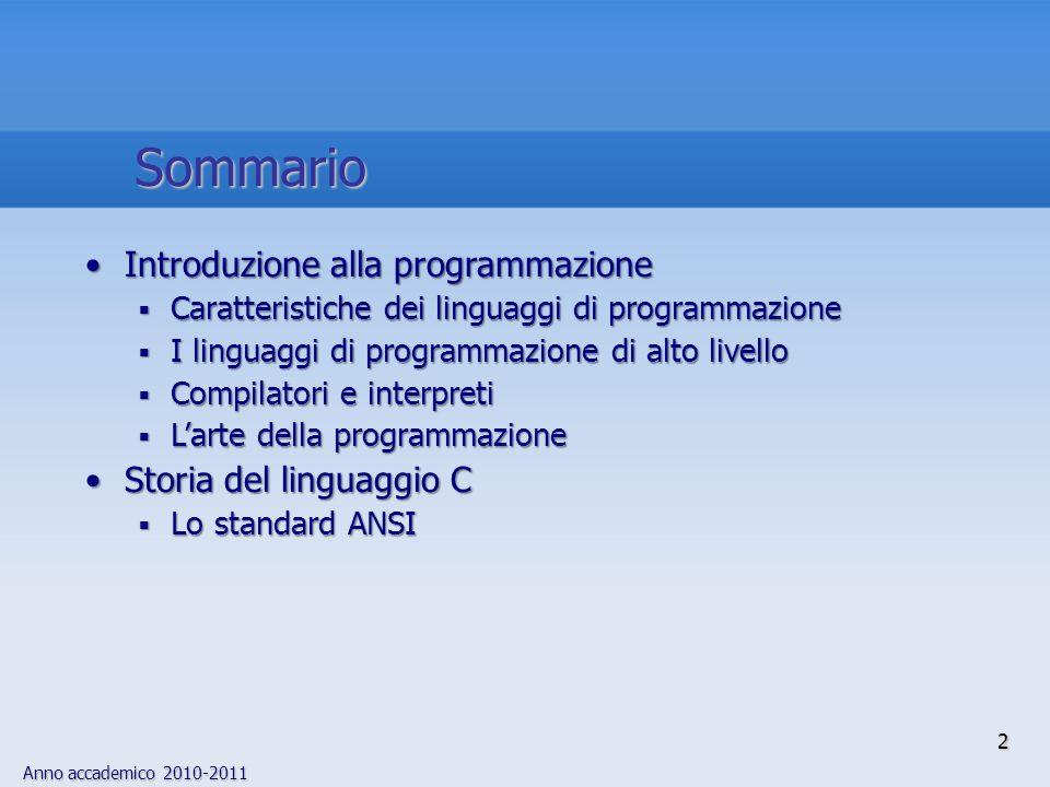 Sommario Introduzione alla programmazione Storia del linguaggio C