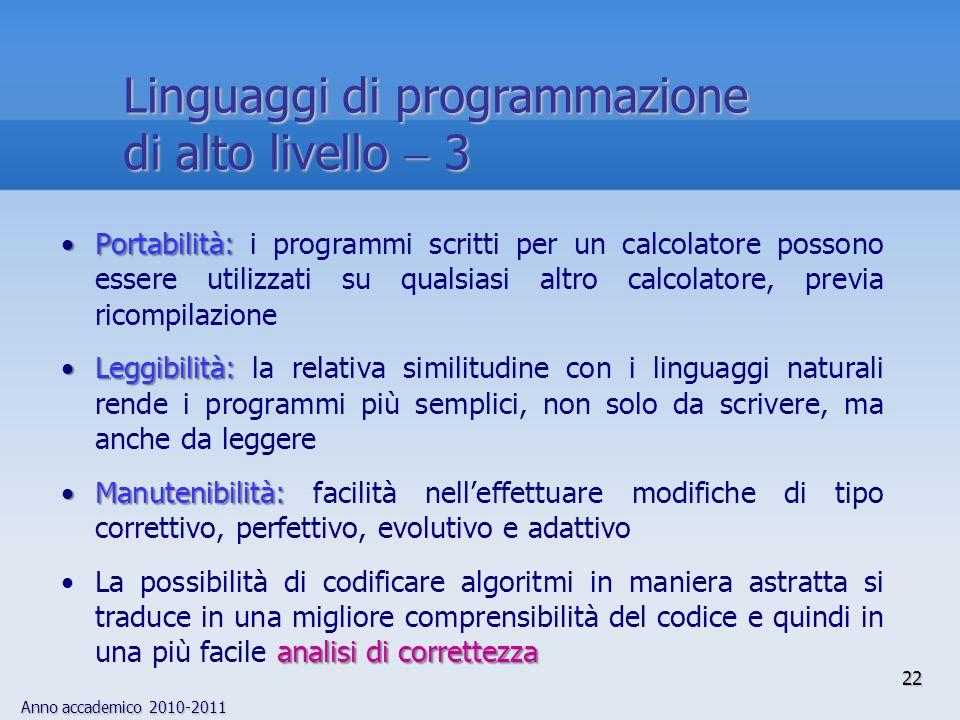 Linguaggi di programmazione di alto livello  3