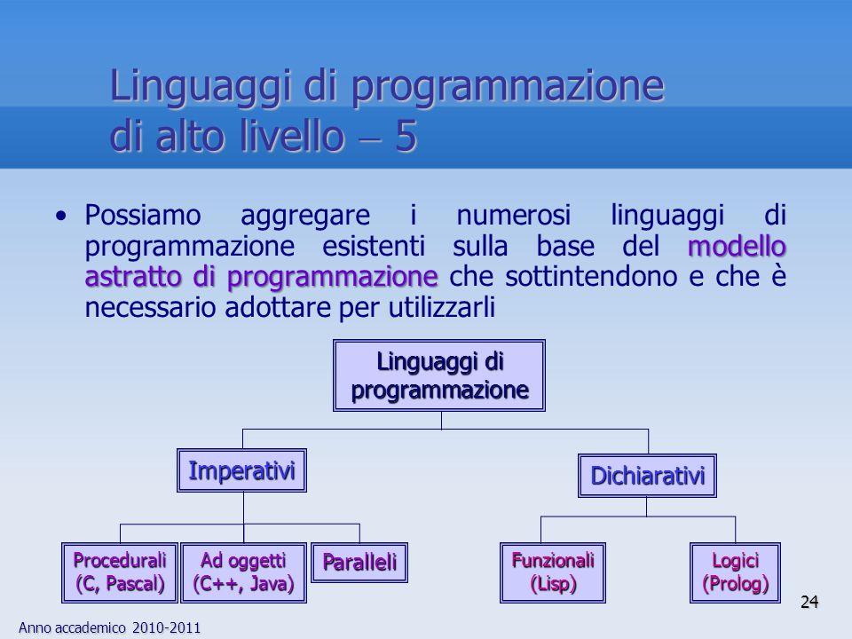 Linguaggi di programmazione di alto livello  5
