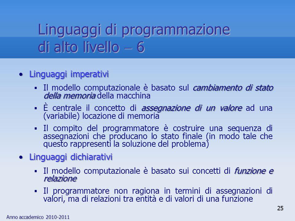 Linguaggi di programmazione di alto livello  6