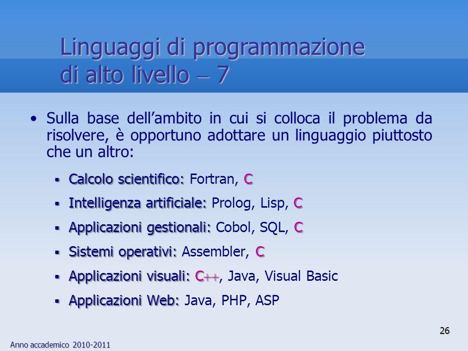 Linguaggi di programmazione di alto livello  7