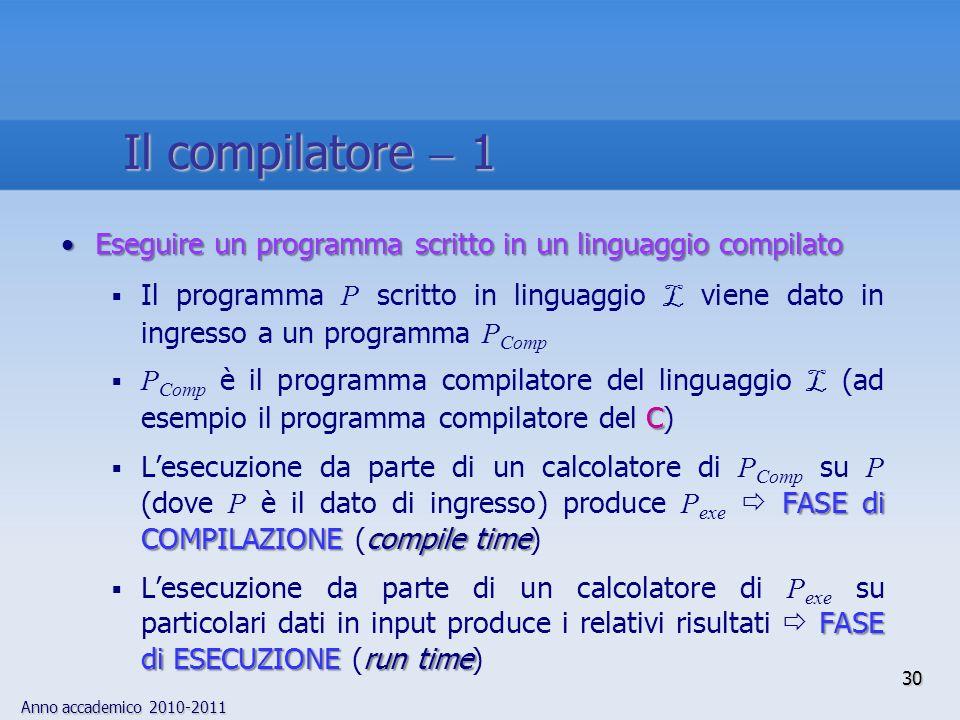 Il compilatore  1 Eseguire un programma scritto in un linguaggio compilato.