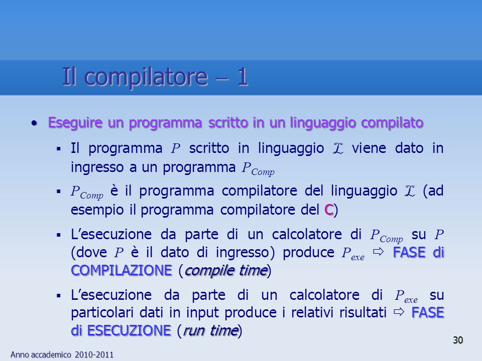 Il compilatore  1Eseguire un programma scritto in un linguaggio compilato.