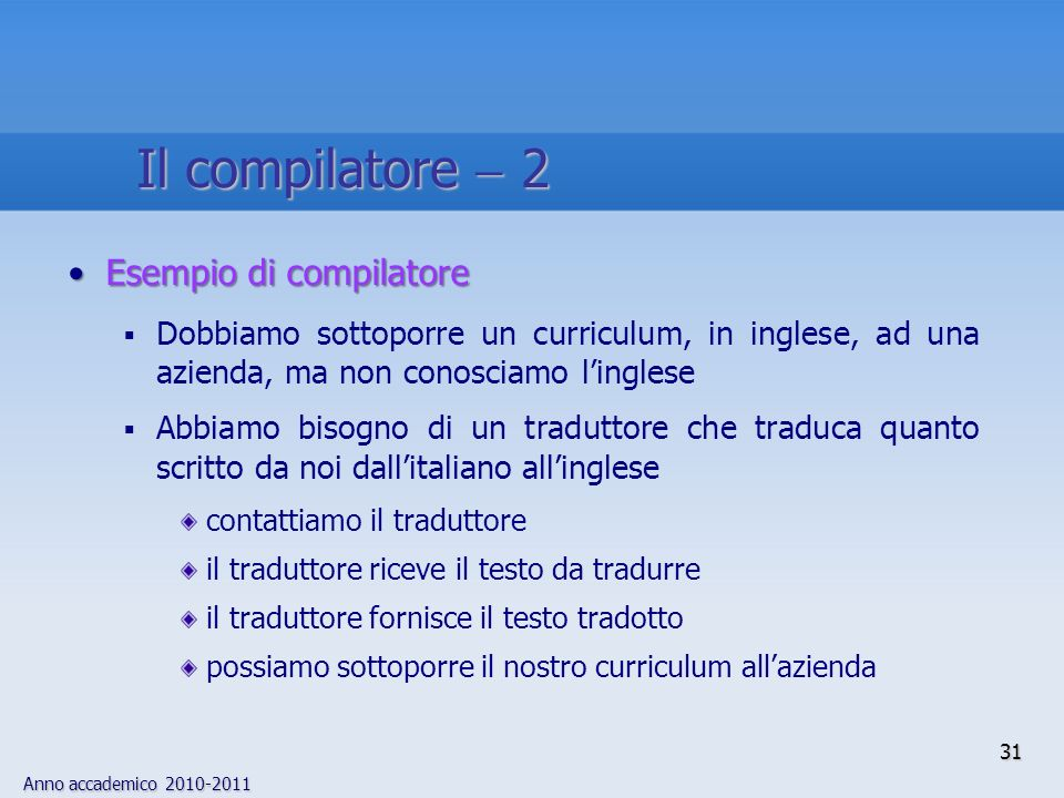Il compilatore  2 Esempio di compilatore