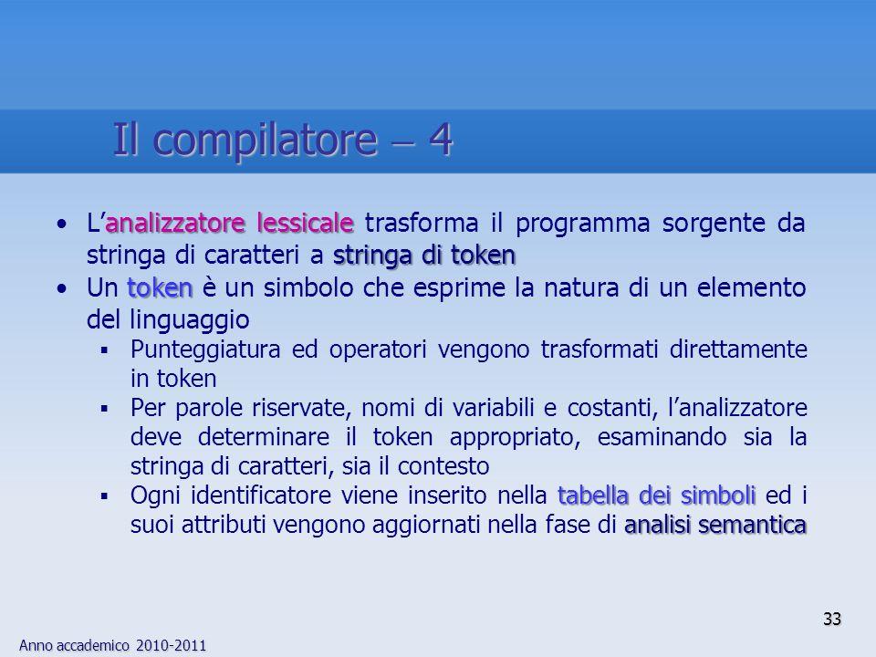 Il compilatore  4 L'analizzatore lessicale trasforma il programma sorgente da stringa di caratteri a stringa di token.