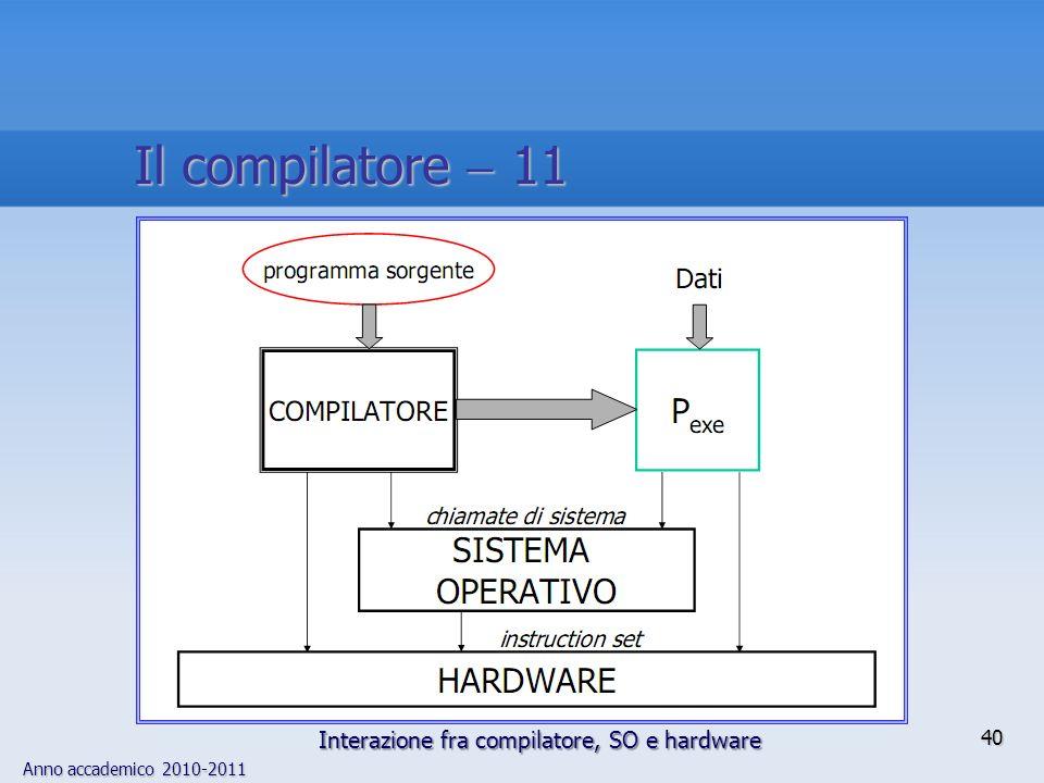Il compilatore  11 Interazione fra compilatore, SO e hardware
