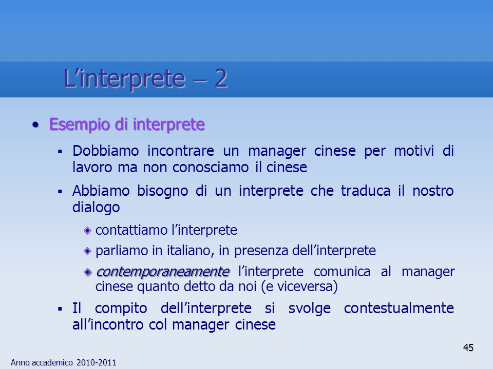 L'interprete  2 Esempio di interprete