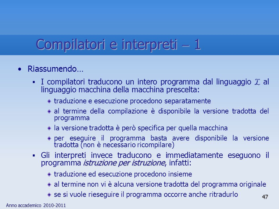 Compilatori e interpreti  1