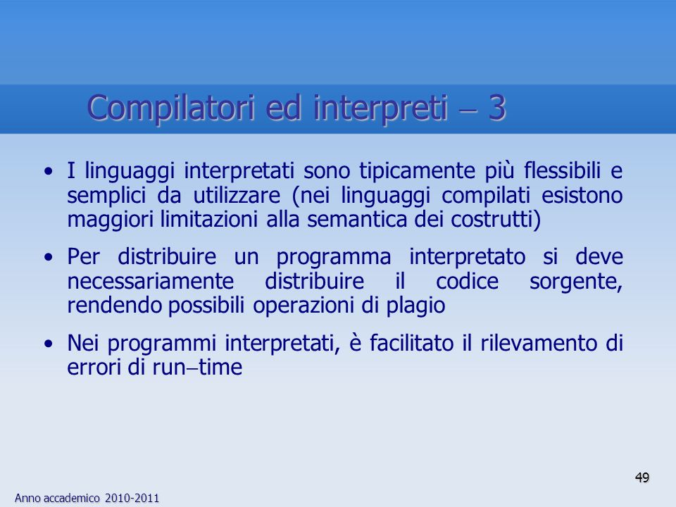 Compilatori ed interpreti  3