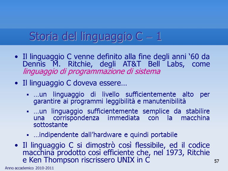Storia del linguaggio C  1
