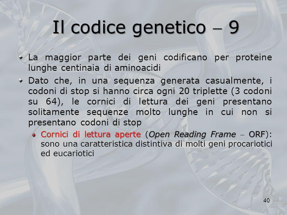 Il codice genetico  9 La maggior parte dei geni codificano per proteine lunghe centinaia di aminoacidi.