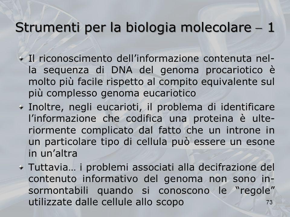 Strumenti per la biologia molecolare  1
