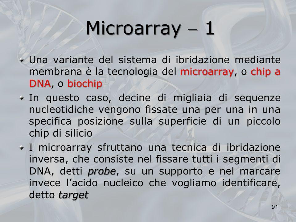 Microarray  1Una variante del sistema di ibridazione mediante membrana è la tecnologia del microarray, o chip a DNA, o biochip.