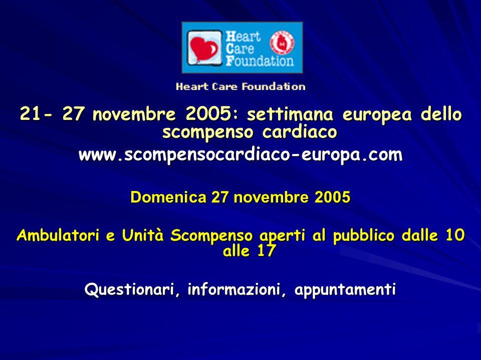 21- 27 novembre 2005: settimana europea dello scompenso cardiaco