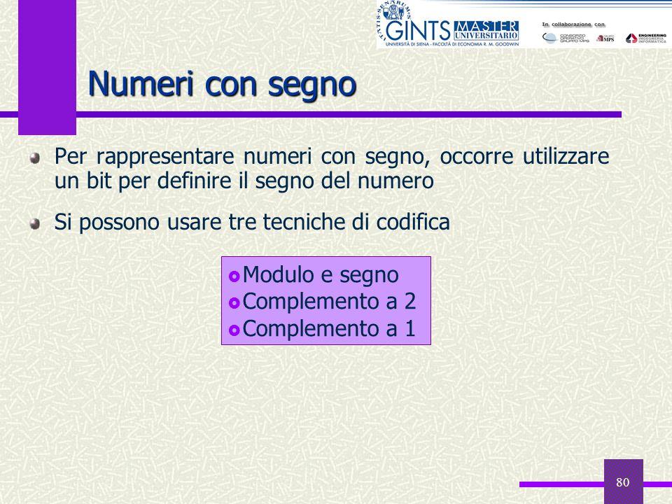 Numeri con segno Per rappresentare numeri con segno, occorre utilizzare un bit per definire il segno del numero.