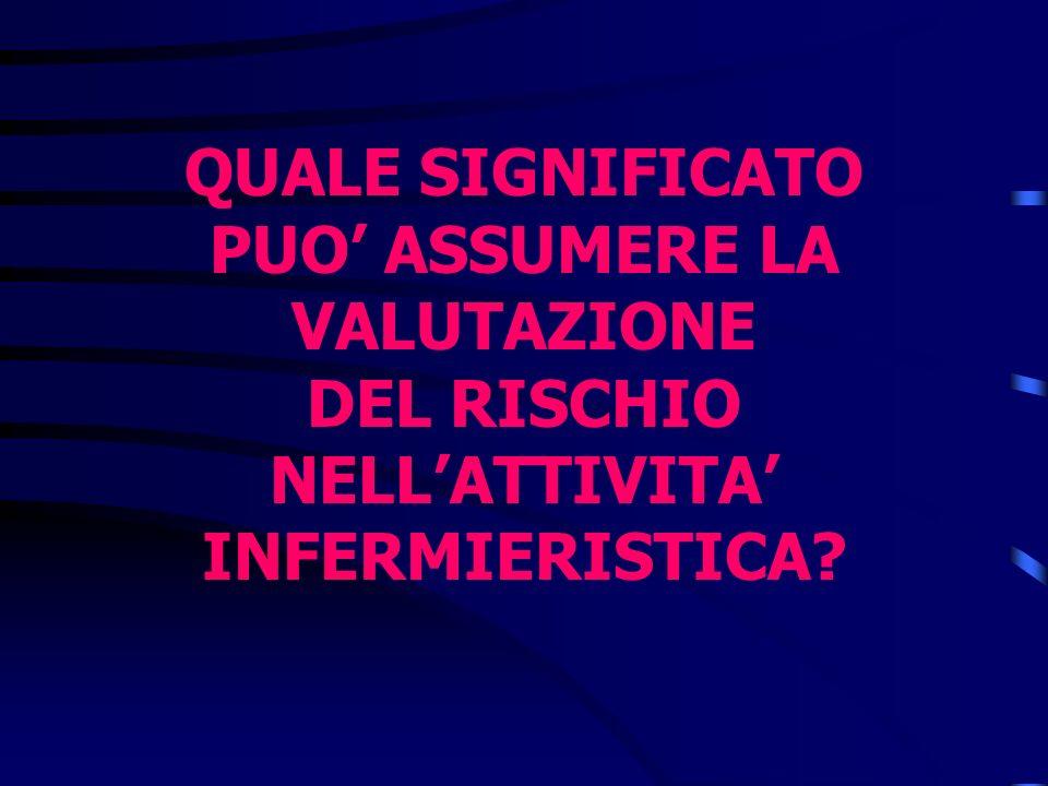 QUALE SIGNIFICATO PUO' ASSUMERE LA VALUTAZIONE DEL RISCHIO NELL'ATTIVITA' INFERMIERISTICA