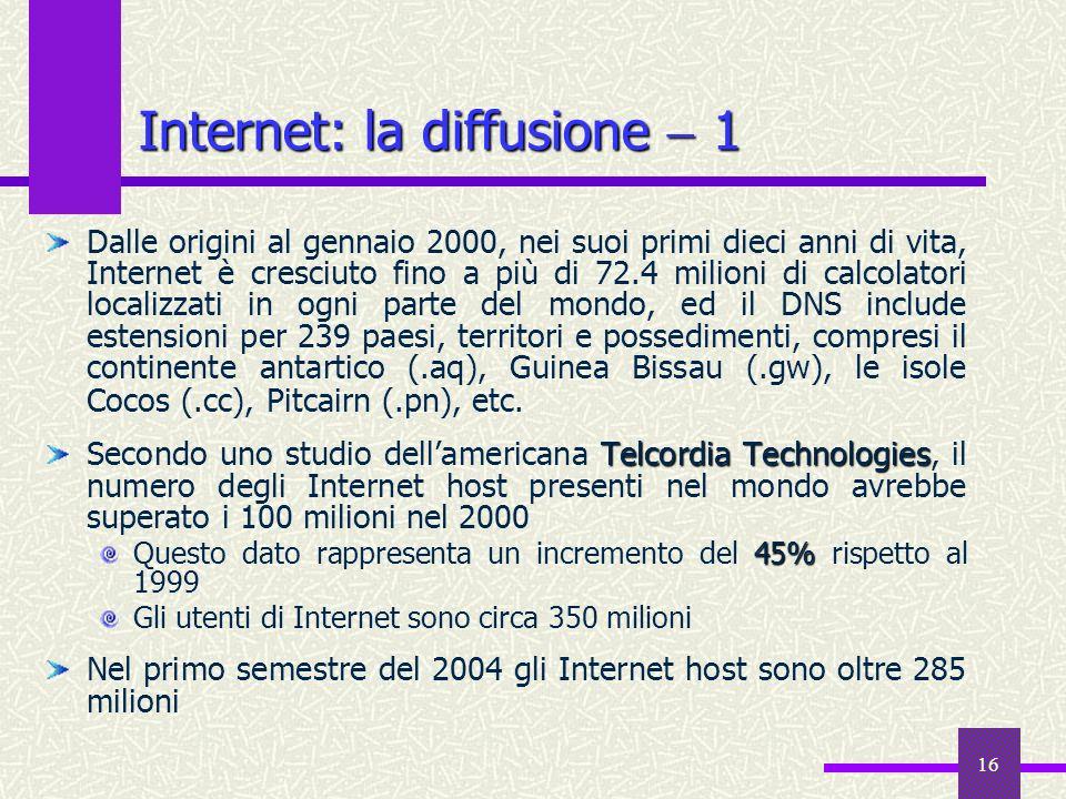 Internet: la diffusione  1