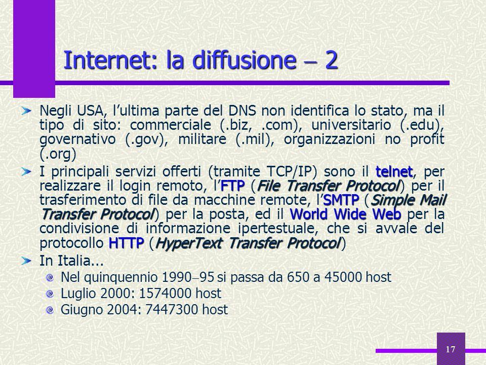 Internet: la diffusione  2