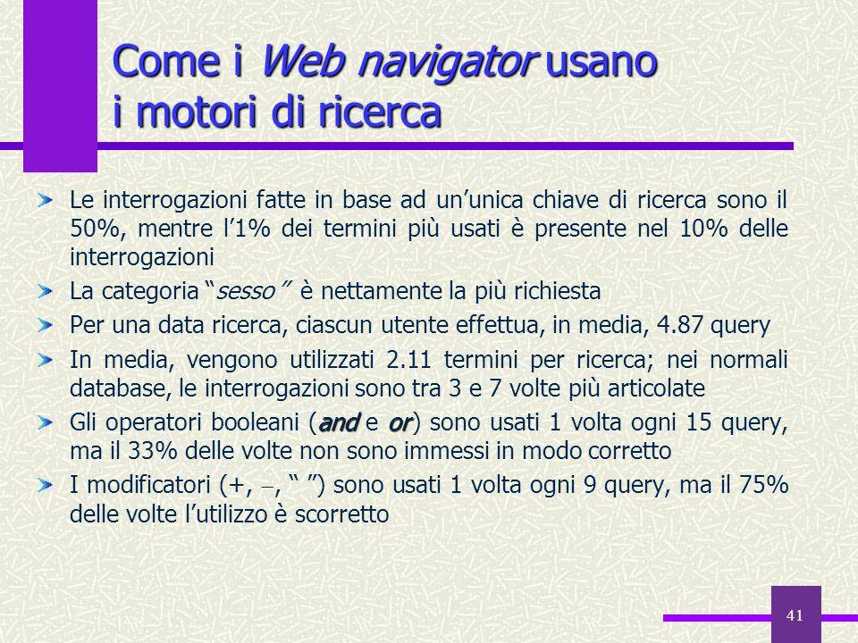 Come i Web navigator usano i motori di ricerca