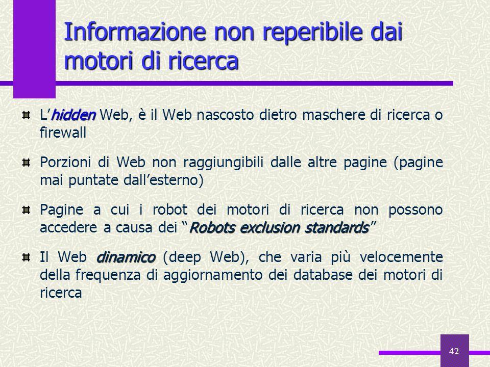 Informazione non reperibile dai motori di ricerca
