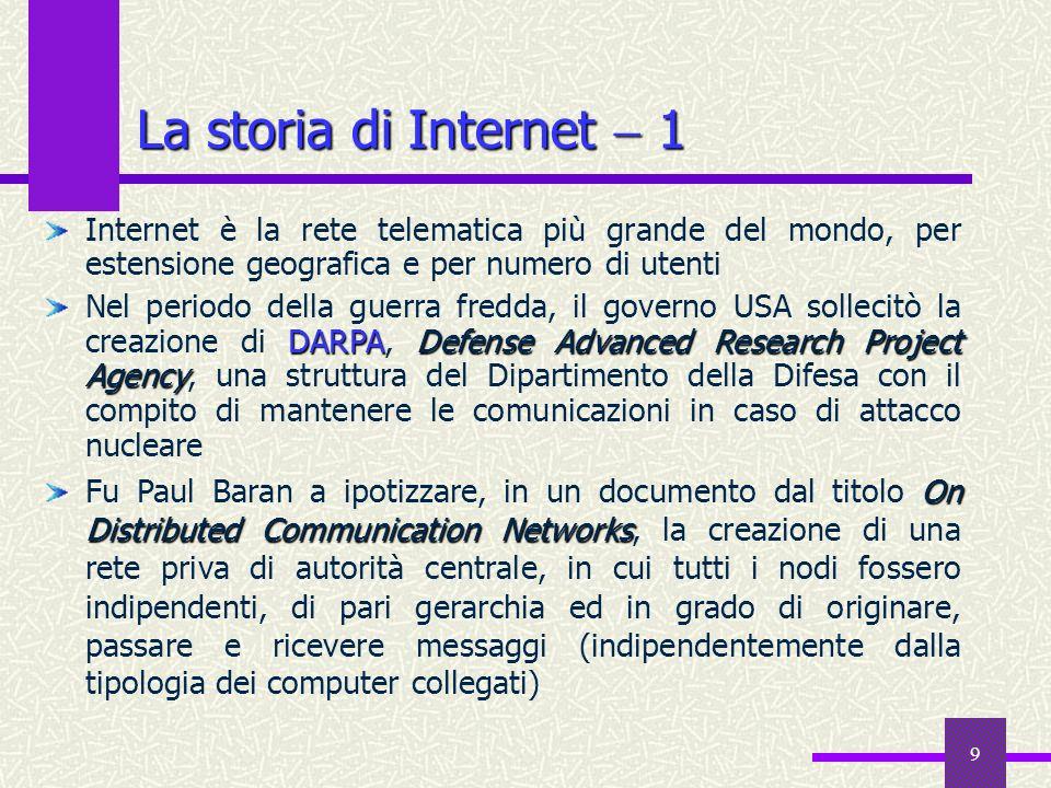 La storia di Internet  1Internet è la rete telematica più grande del mondo, per estensione geografica e per numero di utenti.