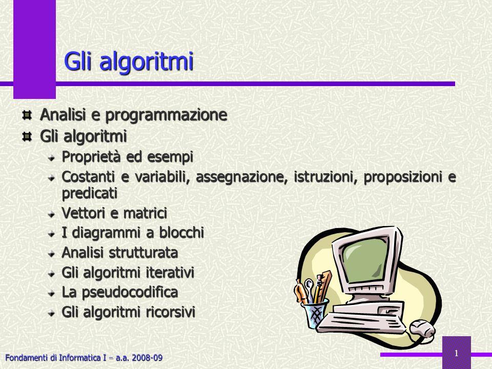 Gli algoritmi Analisi e programmazione Gli algoritmi