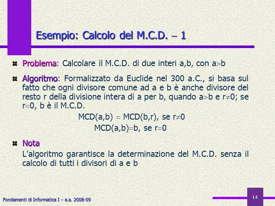Esempio: Calcolo del M.C.D.  1