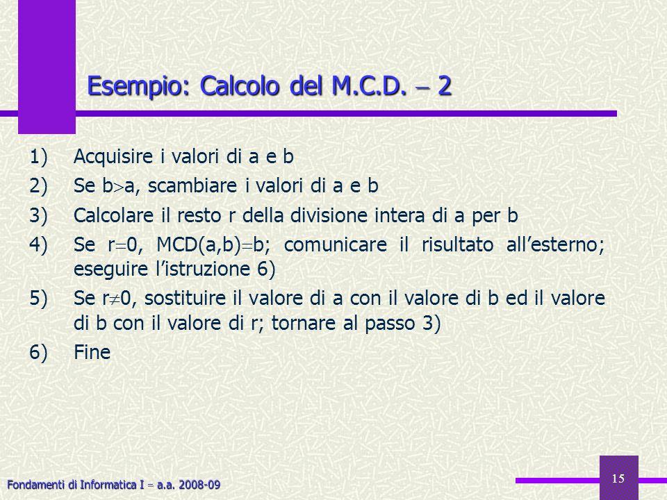 Esempio: Calcolo del M.C.D.  2